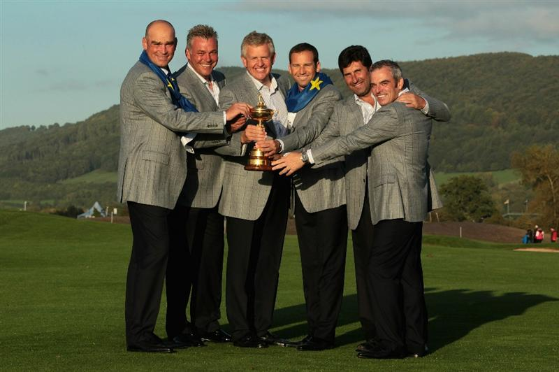 NEWPORT, WALES - OCTOBER 04:  European Team Captain Colin Montgomerie (C) poses with the Ryder Cup and his vice captains (L-R) Thomas Bjorn, Darren Clarke, Sergio Garcia, Jose Maria Olazabal and Paul McGinley following Europe's 14.5 to 13.5 victory over the USA at the 2010 Ryder Cup at the Celtic Manor Resort on October 4, 2010 in Newport, Wales.  (Photo by David Cannon/Getty Images)