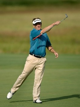 SUNRIVER, OR - AUGUST 16:  Fred Funk reacts to sinking birdie putt at the 17th hole during the third round of the Champions Tour JELD-WEN Tradition at the Crosswater Club on August 16, 2008 in Sunriver, Oregon. (Photo by Steven Gibbons/Getty Images)