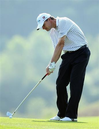 NEWPORT, WALES - JUNE 04:  Paul Lawrie of Scotland plays his second shot on the 16th hole during the second round of the Celtic Manor Wales Open on The Twenty Ten Course at The Celtic Manor Resort on June 4, 2010 in Newport, Wales.  (Photo by Andrew Redington/Getty Images)