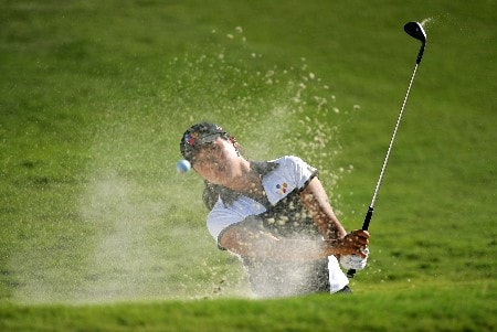 PALM DESERT, CA - OCTOBER 11:  Seon Hwa Lee of South Korea makes a shot out of the bunker on the12th hole during the first round of the LPGA Samsung World Championship at the Bighorn Golf Club October 11, 2007 in Palm Desert, California.  (Photo by Robert Laberge/Getty Images)