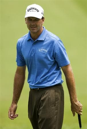 RALEIGH, NC - MAY 29: Len Mattiace reacts after missing a putt on the 18th hole during the second round of the Rex Hospital Open Nationwide Tour golf tournament at the TPC Wakefield Plantation on May 29, 2009 in Raleigh, North Carolina. (Photo by Chris Keane/Getty Images)