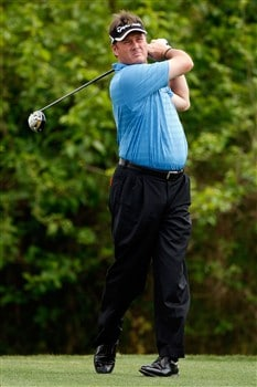AVONDALE, LA - MARCH 30:  Todd Hamilton tees off on the second hole during the final round of the Zurich Classic of New Orleans on March 30, 2008  at TPC Louisiana in Avondale, Louisiana.  (Photo by Chris Graythen/Getty Images)