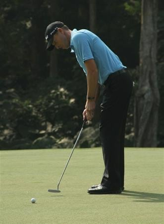 HONG KONG - NOVEMBER 19:  Soren Hansen of Denmark putts during day two of the UBS Hong Kong Open at The Hong Kong Golf Club on November 19, 2010 in Hong Kong, Hong Kong.  (Photo by Stanley Chou/Getty Images)