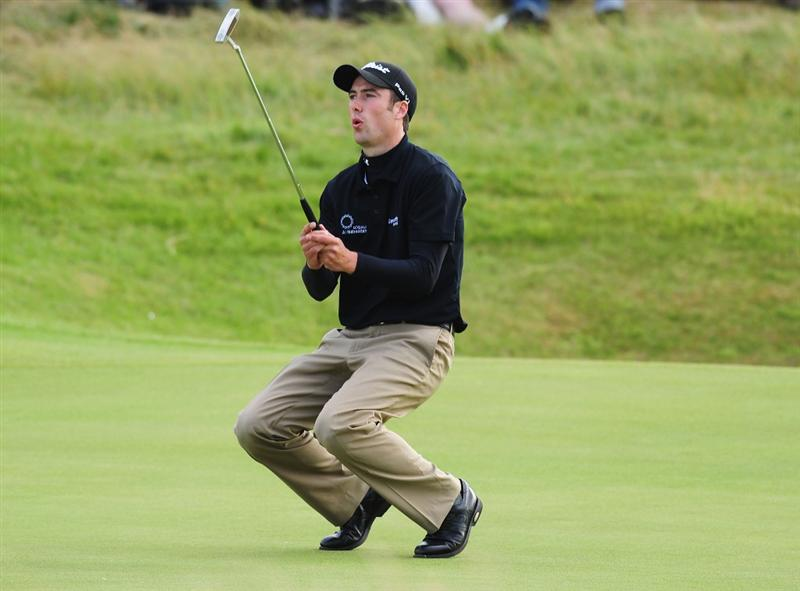TURNBERRY, SCOTLAND - JULY 18:  Ross Fisher of England reacts to a missed putt during round three of the 138th Open Championship on the Ailsa Course, Turnberry Golf Club on July 18, 2009 in Turnberry, Scotland.  (Photo by Stuart Franklin/Getty Images)