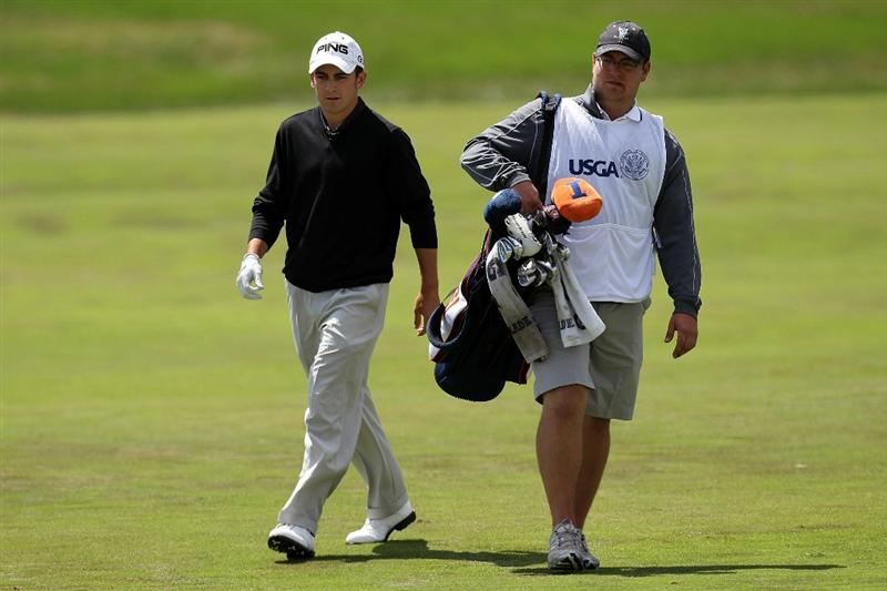 PEBBLE BEACH, CA - JUNE 19:  Amateur Scott Langley walks with his caddie Will Dierinzo on the second hole during the third round of the 110th U.S. Open at Pebble Beach Golf Links on June 19, 2010 in Pebble Beach, California.  (Photo by Ross Kinnaird/Getty Images)