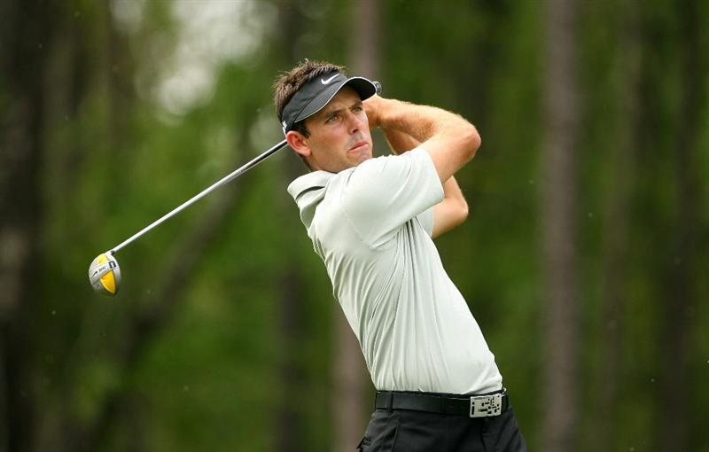 HUMBLE, TX - APRIL 4: Charl Schwartzel of South Africa hits his tee shot on the sixth hole during the final round of the Shell Houston Open at Redstone Golf Club on April 4, 2010 in Humble, Texas. (Photo by Hunter Martin/Getty Images)