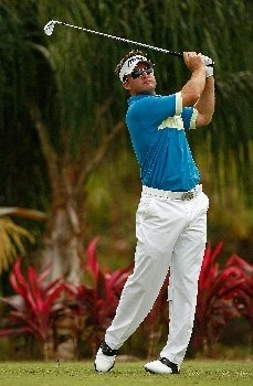 RIO GRANDE, PUERTO RICO - MARCH 21:  Brian Gay hits his tee shot on the 11th hole during the second round of the Puerto Rico Open presented by Banco Popular held on March 21, 2008 at Coco Beach Golf & Country Club in Rio Grande, Puerto Rico.  (Photo by Mike Ehrmann/Getty Images)