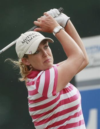 PRATTVILLE, AL - OCTOBER 2:  Christie Kerr watches her drive from the 17th tee during second round play in the Navistar LPGA Classic at the Robert Trent Jones Golf Trail at Capitol Hill on October 2, 2009 in  Prattville, Alabama.  (Photo by Dave Martin/Getty Images)