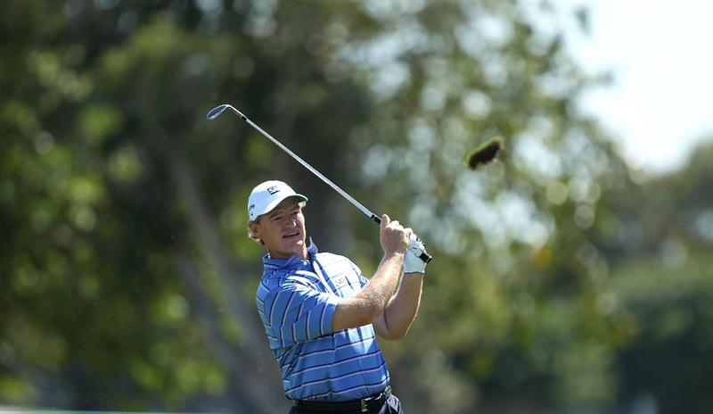 DORAL, FL - MARCH 13:  Ernie Els of South Africa hits a shot on the first hole during round three of the 2010 WGC-CA Championship at the TPC Blue Monster at Doral on March 13, 2010 in Doral, Florida.  (Photo by Scott Halleran/Getty Images)