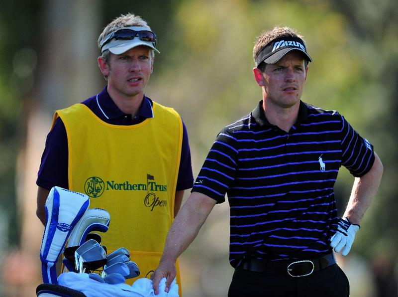 PACIFIC PALISADES, CA - FEBRUARY 19:  Luke Donald of England and caddie/brother Christian Donald on the nineth hole during the first round of the Northern Trust Open at the Riviera Country Club February 19, 2009 in Pacific Palisades, California.  (Photo by Stuart Franklin/Getty Images)