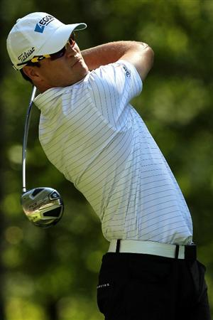 NORTON, MA - SEPTEMBER 04:  Zach Johnson hits a shot on theninth hole during the second round of the Deutsche Bank Championship at TPC Boston on September 4, 2010 in Norton, Massachusetts.  (Photo by Mike Ehrmann/Getty Images)