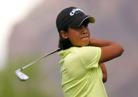 SUPERSTITION MOUNTAIN, ARIZONA - MARCH 23:  Julieta Granada of Paraguay hits her tee shot on the 17th hole during the second round of the Safeway International at the Superstition Mountain Golf and Country Club on March 23, 2007 in Superstition Mountain, Arizona.  (Photo by Scott Halleran/Getty Images)