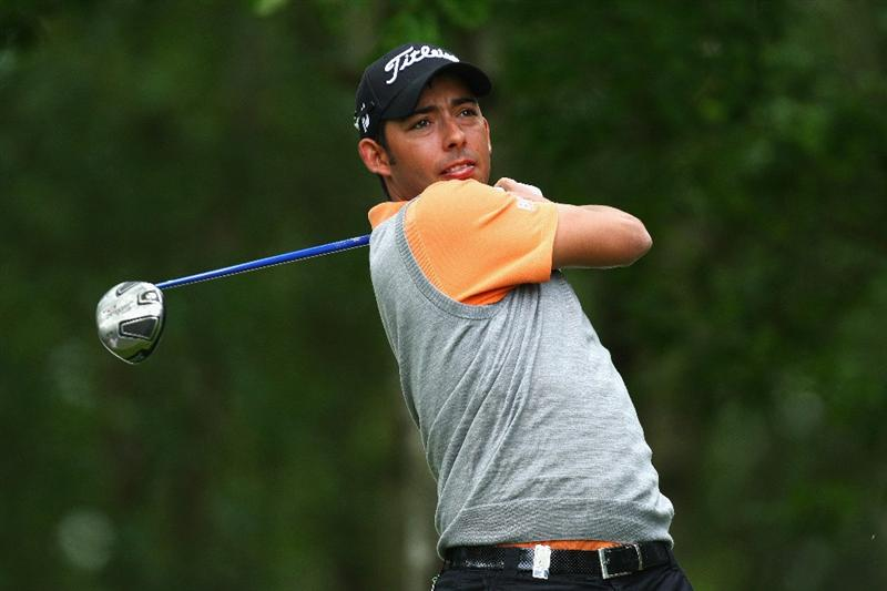 WENTWORTH, ENGLAND - MAY 20:  Pablo Larrazabal of Spain tees off during the Pro Am at the BMW PGA Championship at Wentworth on May 20, 2009 in Virginia Water, England.  (Photo by Ian Walton/Getty Images)