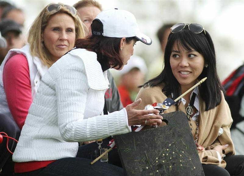 NEWPORT, WALES - OCTOBER 02:  Lisa Pavin (R) watches the action during the rescheduled Afternoon Foursome Matches during the 2010 Ryder Cup at the Celtic Manor Resort on October 2, 2010 in Newport, Wales. (Photo by Jamie Squire/Getty Images)