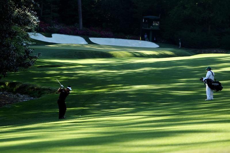 AUGUSTA, GA - APRIL 11:  K.J. Choi of South Korea plays a shot on the 13th hole during the final round of the 2010 Masters Tournament at Augusta National Golf Club on April 11, 2010 in Augusta, Georgia.  (Photo by David Cannon/Getty Images)