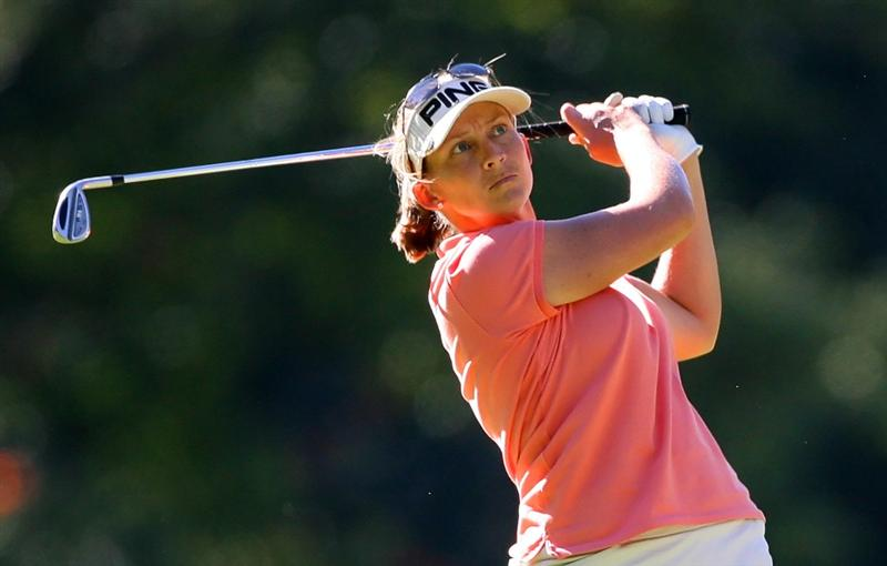 GUADALAJARA, MEXICO - NOVEMBER 14: Angela Stanford of the U.S. hits her second shot on the 15th hole during the second round of the Lorena Ochoa Invitational at Guadalajara Country Club on November 14, 2008 in Guadalajara, Mexico. (Photo by Hunter Martin/Getty Images)