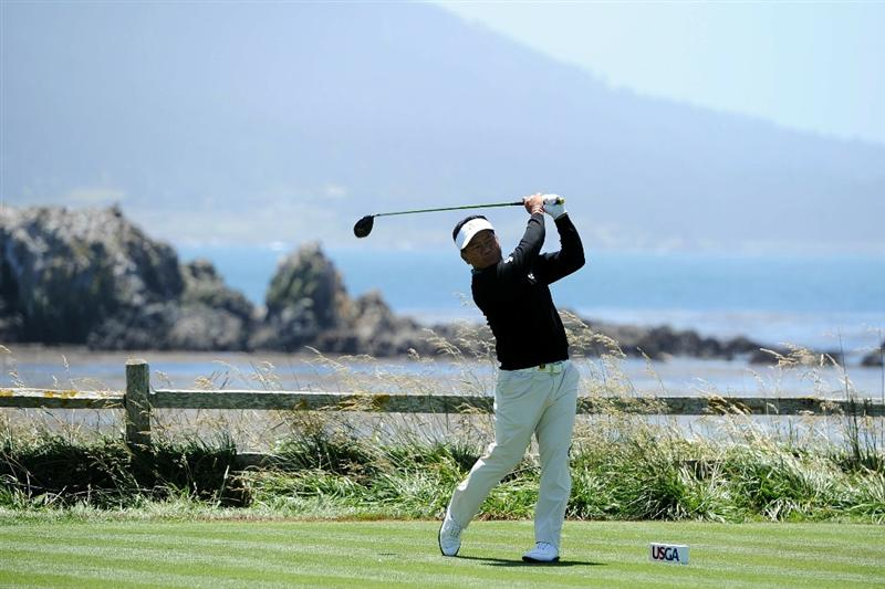 PEBBLE BEACH, CA - JUNE 17:  K.J. Choi of South Korea watches his tee shot on the 18th hole during the first round of the 110th U.S. Open at Pebble Beach Golf Links on June 17, 2010 in Pebble Beach, California.  (Photo by Harry How/Getty Images)