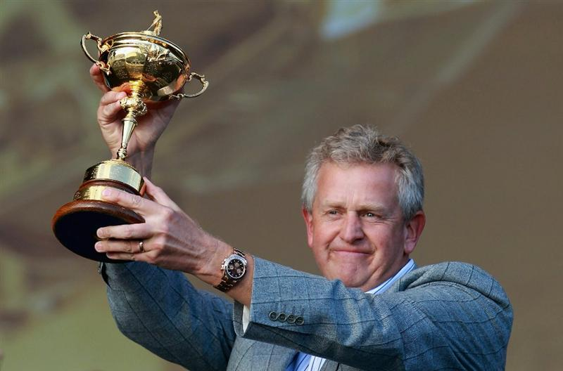 NEWPORT, WALES - OCTOBER 04:  European Team Captain Colin Montgomerie poses with the Ryder Cup at the closing cermonies following Europe's 14.5 to 13.5 victory over the USA at the 2010 Ryder Cup at the Celtic Manor Resort on October 4, 2010 in Newport, Wales.  (Photo by Andrew Redington/Getty Images)