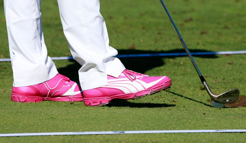 Rickie Fowler's pink Puma shoes