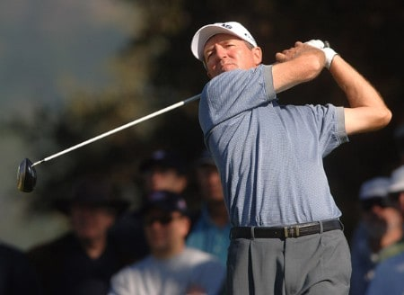 Des Smyth hits from the 11th tee during the third round of the Champions Tour 2005 Charles Schwab Cup Championship at Sonoma Golf Club in Sonoma, California October 29, 2005.Photo by Steve Grayson/WireImage.com