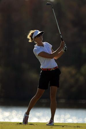 DAYTONA BEACH, FL - DECEMBER 06:  Anna Rawson of Australia hits her approach shot on the 16th hole during the fourth round of the LPGA Qualifying School at LPGA International on December 6, 2008 in Daytona Beach, Florida.  (Photo by Scott Halleran/Getty Images)