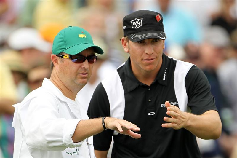 AUGUSTA, GA - APRIL 08:  Ricky Barnes chats with his caddie Ray Farnell during the second round of the 2011 Masters Tournament at Augusta National Golf Club on April 8, 2011 in Augusta, Georgia.  (Photo by Jamie Squire/Getty Images)