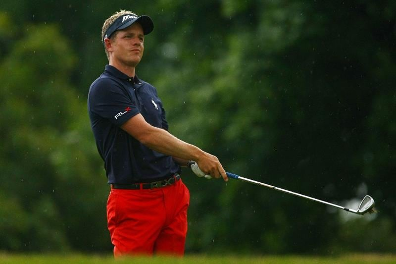 OAKVILLE, ONTARIO - JULY 23:  Luke Donald of England watches his second shot on the tenth hole during round one of the RBC Canadian Open at Glen Abbey Golf Club on July 23, 2009 in Oakville, Ontario, Canada.  (Photo by Chris McGrath/Getty Images)