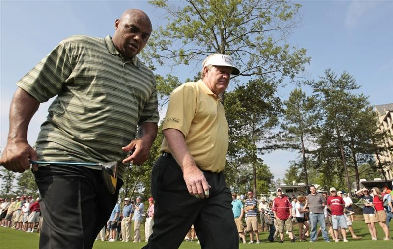 BIRMINGHAM, AL - MAY 14: Former basketball star Charles Barkley (L) walks off the first tee with Andy Bean during the Thursday Pro-AM of the Regions Charity Classic at the Robert Trent Jones Golf Trail at Ross Bridge on May 14, 2009  in Birmingham, Alabama. (Photo by Dave Martin/Getty Images)