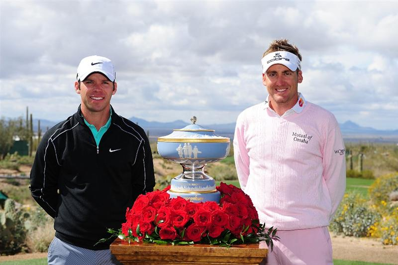 MARANA, AZ - FEBRUARY 21:  Paul Casey (L) and Ian Poulter of England pose by the Walter Hagen Cup on the first tee during the final round of the Accenture Match Play Championship at the Ritz-Carlton Golf Club at  on February 21, 2010 in Marana, Arizona.  (Photo by Stuart Franklin/Getty Images)