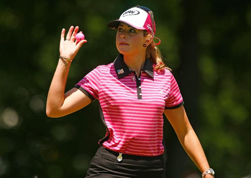BETHLEHEM, PA - JULY 12:  Paula Creamer waves to the gallery on the fourth green during the final round of the 2009 U.S. Women's Open at the Saucon Valley Country Club on July 12, 2009 in Bethlehem, Pennsylvania.  (Photo by Scott Halleran/Getty Images)