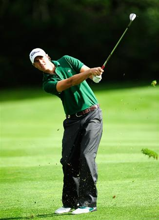 VIENNA, AUSTRIA - SEPTEMBER 16:  Nicolas Colsaerts of Belgium plays his approach shot on the sixth hole during the first round of the Austrian golf open presented by Botarin at the Diamond country club on September 16, 2010 in Atzenbrugg near Vienna, Austria.  (Photo by Stuart Franklin/Getty Images)