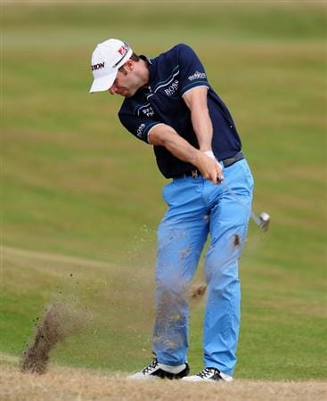 ZANDVOORT, NETHERLANDS - AUGUST 21:  Bradley Dredge of Wales plays his approach shot on the 13th hole during the second round of The KLM Open at Kennemer Golf & Country Club on August 21, 2009 in Zandvoort, Netherlands.  (Photo by Stuart Franklin/Getty Images)