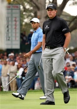 SAN DIEGO - JUNE 12:  Tiger Woods (L) and Phil Mickelson (R)walk on the first green during the first round of the 108th U.S. Open at the Torrey Pines Golf Course (South Course) on June 12, 2008 in San Diego, California.  (Photo by Ross Kinnaird/Getty Images)