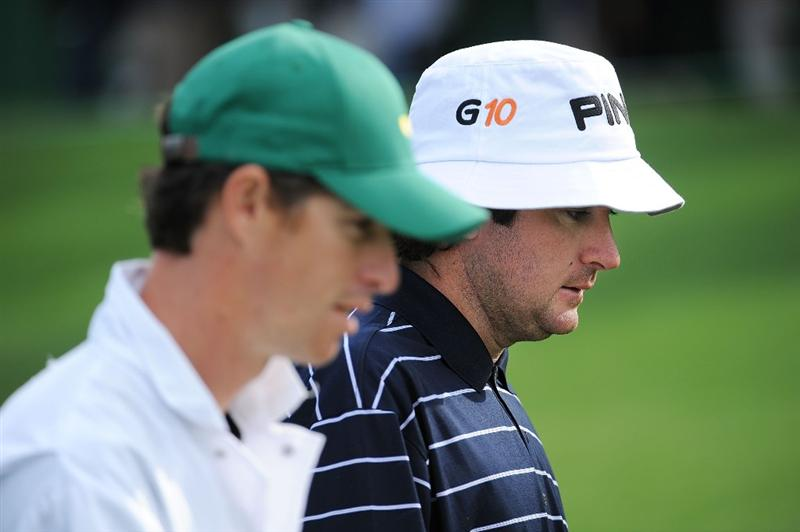 AUGUSTA, GA - APRIL 06:  Bubba Watson walks with his caddie during a practice round prior to the 2009 Masters Tournament at Augusta National Golf Club on April 6, 2009 in Augusta, Georgia.  (Photo by Harry How/Getty Images)