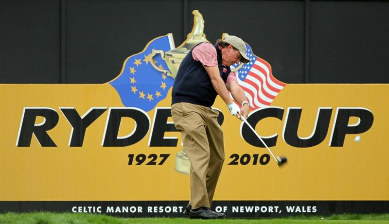 NEWPORT, WALES - SEPTEMBER 30:  Phil Mickelson of the USA tees off during a practice round prior to the 2010 Ryder Cup at the Celtic Manor Resort on September 30, 2010 in Newport, Wales.  (Photo by Andy Lyons/Getty Images)