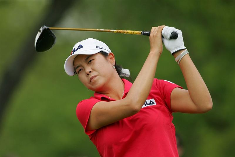 CORNING, NY - MAY 23:  Hee-Won Han of South Korea watches her drive on the eighth hole during the third round of the LPGA Corning Classic at the Corning Country Club held on May 23, 2009 in Corning, New York.  (Photo by Michael Cohen/Getty Images)