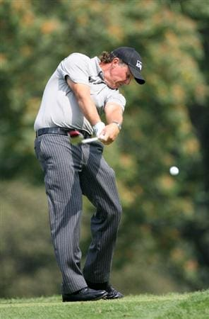 LEMONT, IL - SEPTEMBER 12: Phil Mickelson hits his tee shot on the eighth hole during the third round of the BMW Championship at Cog Hill Golf & Country Club on September 12, 2009 in Lemont, Illinois. (Photo by Hunter Martin/Getty Images)