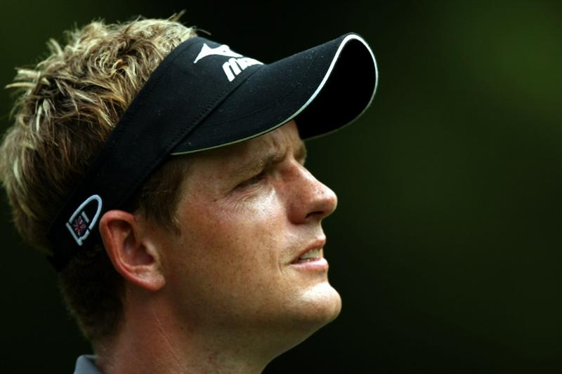 KUALA LUMPUR, MALAYSIA - OCTOBER 29: Luke Donald of England looks on on the 3rd hole during day two of the CIMB Asia Pacific Classic at The MINES Resort & Golf Club on October 29, 2010 in Kuala Lumpur, Malaysia.  (Photo by Stanley Chou/Getty Images)