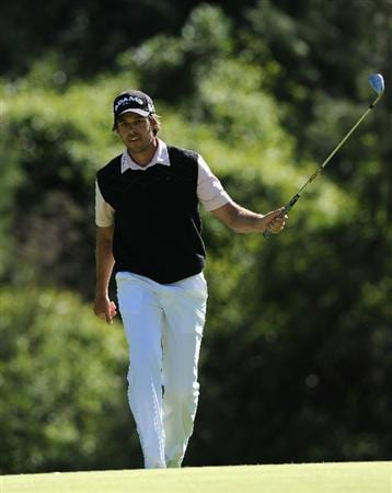 PACIFIC PALISADES, CA - FEBRUARY 20:  Aaron Baddeley of Australia reacts to his chip on the 12th hole during the final round of the Northern Trust Open at Riviera Country Club on February 20, 2011 in Pacific Palisades, California.  (Photo by Stuart Franklin/Getty Images)