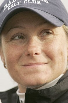 Karen Stupples talks to the media after the first round of the 2005 Weetabix Women's British Open at the Royal Birkdale Golf Club in Southport, Great Britain on July 28, 2005.Photo by Pete Fontaine/WireImage.com