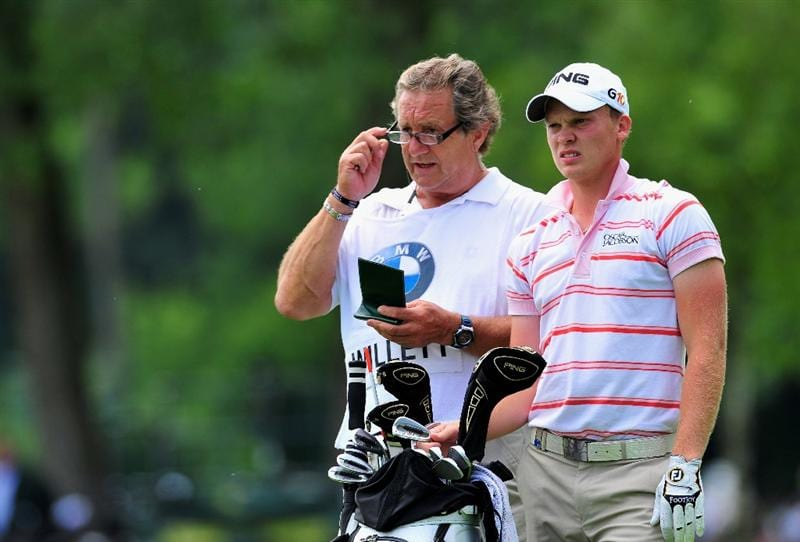 MUNICH, GERMANY - JUNE 27:  Danny Willett of England and caddie Malcolm Mason on the eighth hole during the third round of The BMW International Open Golf at The Munich North Eichenried Golf Club on June 27, 2009, in Munich, Germany.  (Photo by Stuart Franklin/Getty Images)
