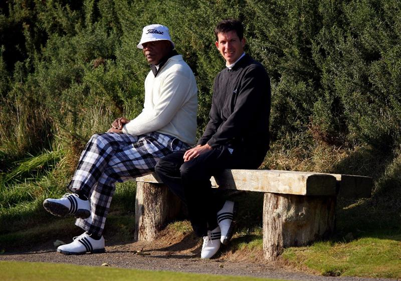 KINGSBARNS, UNITED KINGDOM - OCTOBER 02:  Hollywood actor Samuel L.Jackson and Tim Henman wait to play on 12th tee during the first round of The Alfred Dunhill Links Championship at Kingsbarns Golf Links on October 2, 2008 in Kingbarns, Scotland.  (Photo by Andrew Redington/Getty Images)