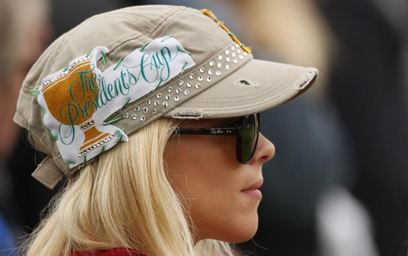 SAN FRANCISCO - OCTOBER 08:  Elin Woods watches her husband Tiger Woods of the USA Team during the Day One Foursome Matches of The Presidents Cup at Harding Park Golf Course on October 8, 2009 in San Francisco, California.  (Photo by Warren Little/Getty Images)