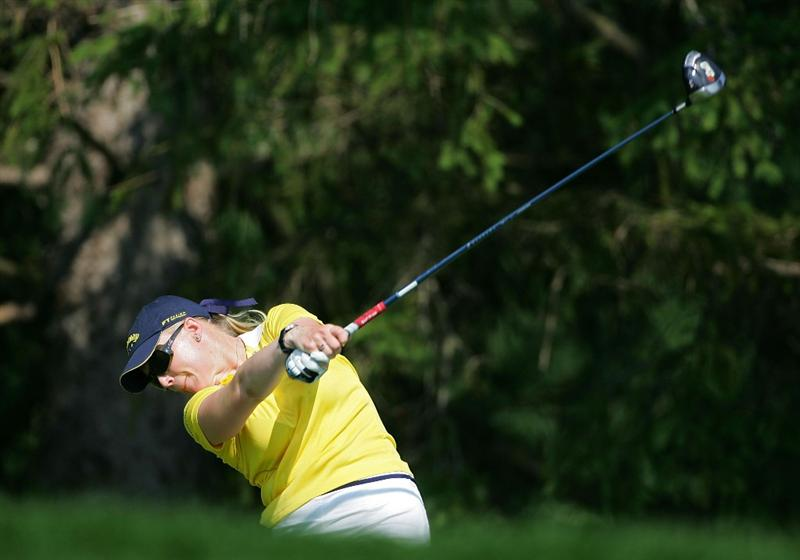 PITTSFORD, NY - JUNE 27: Morgan Pressel of the USA plays her drive on the 16th hole during the third round of the Wegmans LPGA at Locust Hill Country Club held on June 27, 2009 in Pittsford, NY. (Photo by Michael Cohen/Getty Images)