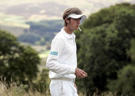Nicolas Colsaerts in action on the 5th tee during the 2005 Johnnie Walker Championship's Final Round on August 7, 2005 in Gleneages, Scotland.Photo by Thomas Main/WireImage.com