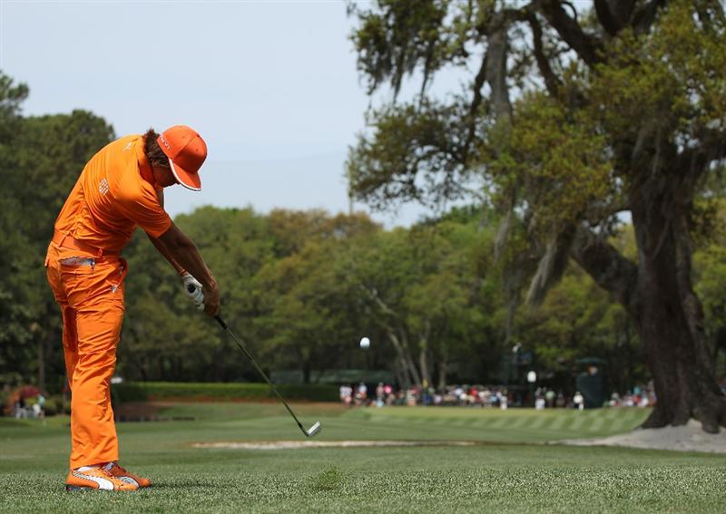 HILTON HEAD ISLAND, SC - APRIL 18:  Rickie Fowler hits a shot on the eighth hole during the final round of the Verizon Heritage at the Harbour Town Golf Links on April 18, 2010 in Hilton Head lsland, South Carolina.  (Photo by Scott Halleran/Getty Images)