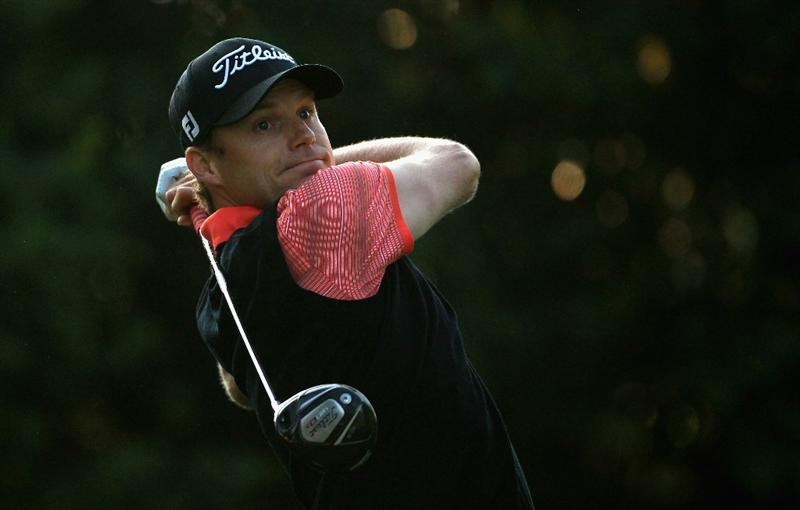 CHARLOTTE, NC - MAY 06:  Nick Watney hits his tee shot on the 11th hole during the second round of the Wells Fargo Championship at Quail Hollow Club on May 6, 2011 in Charlotte, North Carolina.  (Photo by Streeter Lecka/Getty Images)