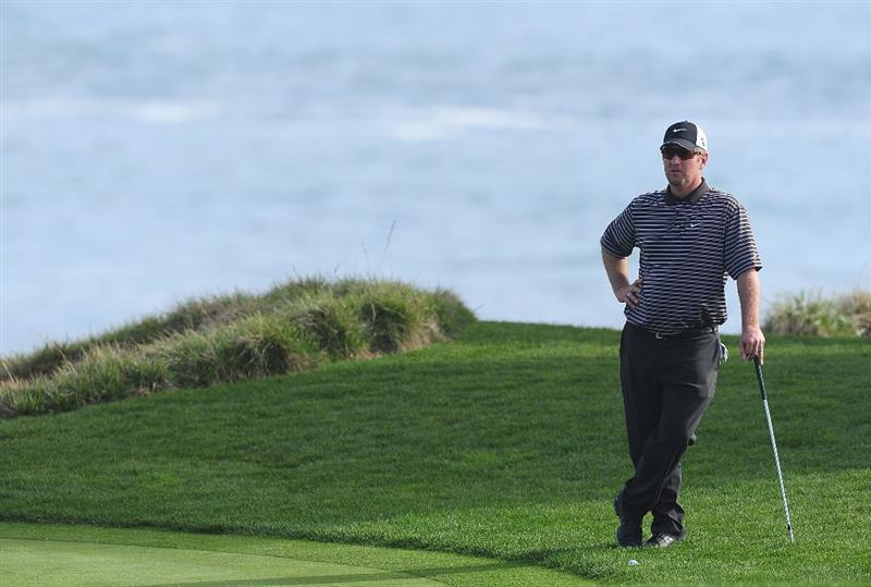 PEBBLE BEACH, CA - FEBRUARY 12:  David Duval ponders on the 17th hole during round two of the AT&T Pebble Beach National Pro-Am at Pebble Beach Golf Links on February 12, 2010 in Pebble Beach, California.  (Photo by Stuart Franklin/Getty Images)
