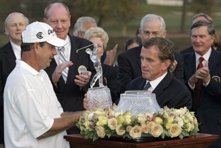 Bart Bryant and PGA TOUR Commissioner Tim Finchem after Bryant won THE TOUR Championship at East Lake Golf Club in Atlanta, Georgia on November 6, 2005.Photo by Sam Greenwood/WireImage.com