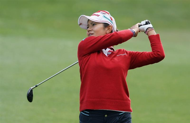 CITY OF INDUSTRY, CA - MARCH 24:  Ai Miyazato of Japan watches a shot on the 12th hole during the first round of the Kia Classic on March 24, 2011 at the Industry Hills Golf Club in the City of Industry, California.  (Photo by Scott Halleran/Getty Images)